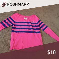 Hollister stripe shirt. Very comf. Blue stripes on a pink shirt hollister  Tops Sweatshirts & Hoodies