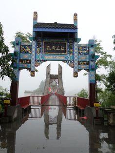 Bridge to the Shibaozhai Temple in China