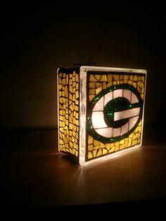 Green Bay Packer glass block mosaic light by Ang and Matt