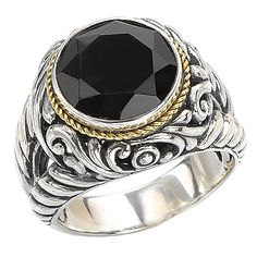 NEW LADIES 18K YELLOW GOLD & STERLING SILVER .925 BLACK ONYX SWIRL RING BAND #Band