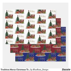 Traditional Merry Christmas Tree Wrapping Paper Sheets