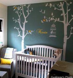 PopDecors-arbre pour crèche et chambre d'enfants avec nom personnalisé Kid's personnalisée Beautiful arbre Stickers muraux pour chambre d'enfant Peint style Princess Boys Sticker Autocollant mural de décoration pour chambre d'enfants