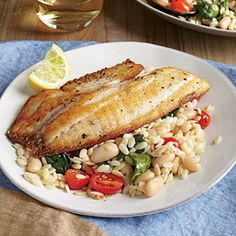 Seared Tilapia with Spinach and White Bean Orzo Recipe | Cooking Light #myplate #protein #wholegrain #veggies #fruit