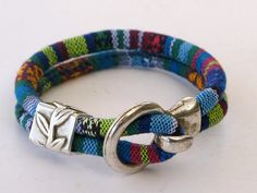 Colorful Cotton Hook Bracelet blue green multi by WhirlyWraps
