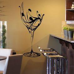 Kitchen Wall Decor Wine   Wine Glass Elegant Crystal Beauty Wall Art Decor Sticker Design ...