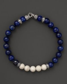 Scott Kay Lapis and Bone Beaded Bracelet: