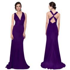 HE09008  Elegant Sexy V Neck Evening Dress