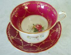 Ruby Red Teacup and Saucer Set - Vintage English China Red Tea Cups and Saucers via Etsy
