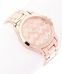 Rose Gold Zigzag Bracelet Watch #zulily #zulilyfinds