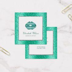 #makeupartist #businesscards - #mermaid FAUX glitter lips makeup artist Square Business Card