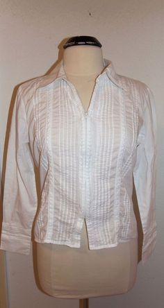 Lands End Orange Plaid Shirt Blouse Top 3 4 Button Front Long