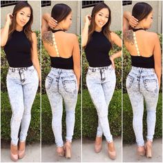 High-waisted jeans have made a comeback! These acid wash, stretchy jeans include two rear pockets. They look fabulous with basically anything! These jeans also come in a light wash. Sexy Jeans, Denim Skinny Jeans, High Jeans, High Waist Jeans, Blue Jeans, Fashion Killa, Look Fashion, Trendy Fashion, Fashion Addict