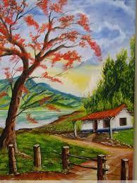Resultado de imagen de paisajes tipicos costarricenses en oleo