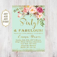 60th Birthday Invitation, Any Age Women Birthday Invitation, Floral Mi