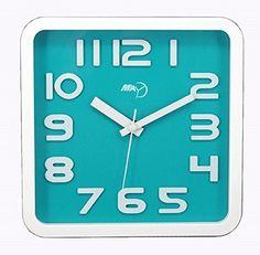 Maytime Modern contemporary Clear 3D Arabic Numerals Square Simple Wall Clock Silent Quartz, Bluegreen 9 Inches  #Arabic #Blue/Green #Clear #Clock #Contemporary #Inches #Maytime #Modern #Numerals #Quartz #RusticMantelClock #Silent #Simple #Square #Wall The Rustic Clock