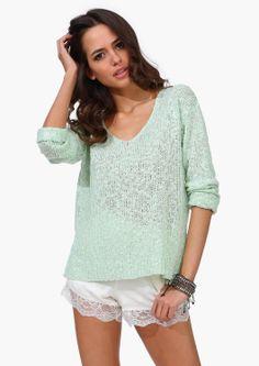 light minty sweater