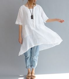 2color Loose Fitting Linen Long Shirt Chinese от prettyforest22