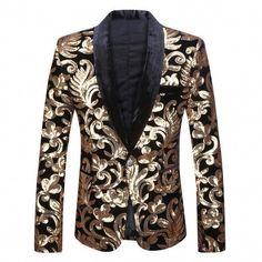 0c495df9 Men Shawl Lapel Blazer Designs Plus Size Black Velvet Gold Flowers Sequins  Suit Jacket DJ Club Stage Singer Clothes