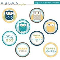 Boy Owl Cupcake Toppers - Birthday or Baby Shower - DIY Printables for inaanak Baby Shower Cupcake Cake, Baby Girl Cupcakes, Owl Cupcakes, Owl Birthday Parties, Baby Girl Birthday, Birthday Ideas, Baby Owl Pictures, Owl Shower, Shower Ideas