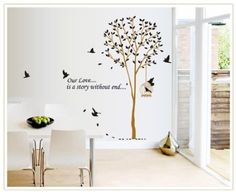 Wall Decals - YYone Our Love is A Story Without End Quote Tall Tree with Birds Wall Decal Leaves Wall Sticker Decor