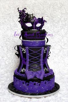 Goth purple corset wedding cake