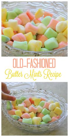 Make your own delicious butter mints! Pastel colors, perfect for parties. Use this old-fashioned butter mints recipe to make your own delicious mints for weddings, showers or parties! Beautiful pastel colors and deliciously minty! Mint Recipes, Sweet Recipes, Hard Candy Recipes, Old Fashioned Butter Mints Recipe, Old Fashioned Recipes, Recipe For Butter Mints, Buttercream Mints Recipe, Old Fashioned Sweets, Old Fashioned Candy
