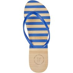 French Connection Blue Filipa Flip Flops (€27) ❤ liked on Polyvore featuring shoes, sandals, flip flops, blue, french connection shoes, wood sandals, blue sandals, wood shoes and french connection