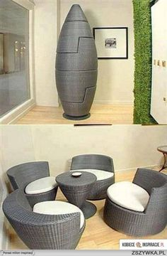 20 creative space saving ideas for home - The Grey Home - Where desire meets inspiration. Be agood idea and look great in the garden x Space Saving Furniture, Cool Furniture, Modern Furniture, Furniture Design, Outdoor Furniture, Garden Furniture, Furniture Ideas, Wicker Furniture, Folding Furniture