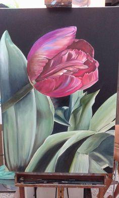 Tulipano solitario olio su tela 70x100