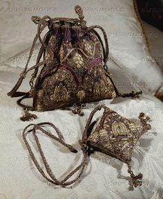 Needlework-bag and pin-cushion of Queen Elizabeth I. (1533-1603) Alnwick Castle, Alnwick, Great Britain