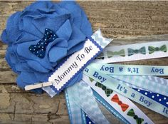 Bow Tie Mommy To Be Corsage Blue Baby Shower Corsage Grandma To Be Corsage Mom Badge Blue Boy Tie Theme Shower Corsage Fabric Flower, $14.00