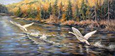 "Peggy Watkins, Making Tracks. $4,000 18"" x 36"" - Oil on Canvas"