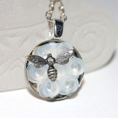 Petite Bumble Bee Necklace  Honeycomb Unique by ArtMadeByTammy, $22.00