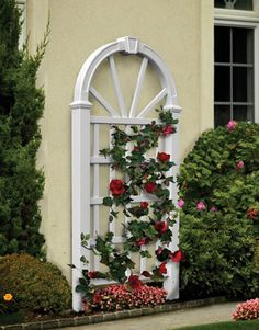 The dartmouth trellis creates a classic wood look without the upkeep.  Beautiful but simple look.