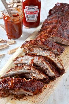 Heinz® White Vinegar and Heinz® Hot & Spicy Ketchup combine forces to make these tender Spicy BBQ Oven Smoked Ribs Bbq Ribs, Pork Ribs, Barbecue, Oven Ribs, Rib Recipes, Cooking Recipes, Smoker Recipes, Cooking Tips, Smoked Ribs