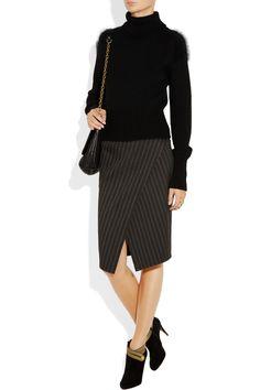 Donna Karan|Pinstriped stretch wool-blend skirt|NET-A-PORTER.COM
