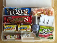 A Girl's Survival Kit!--- I want to make one of these for when lily hits puberty with all the fixins.. don't forget the chocolate and some reading material to explain it all. Makes it an achievement instead of the pain that it is