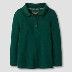 Toddler Girls' Long Sleeve Interlock Polo Shirt Cat & Jack - Green 5T, Toddler Girl's