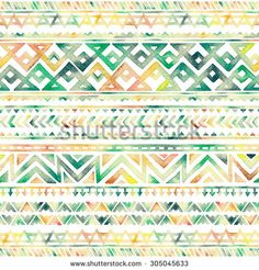 Seamless Hand Drawn Watercolor Ethnic Tribal Decorative Pattern. Best for Fabric, Scrapbooking, Wrapping Paper, Greeting and invitation card Design Template. - stock photo