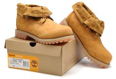 Fashion Winter Timberland Kids Roll Top Shoes Brown Gold