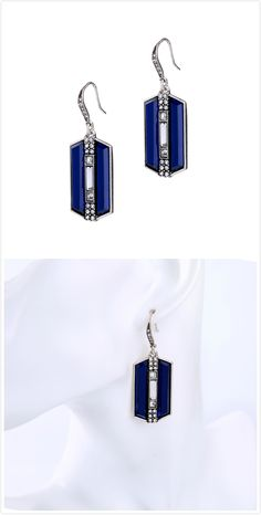 Blue Gemstone Rhinestone Earrings For Women