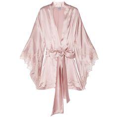 Carine Gilson Thème Louise Lace Trimmed Silk-Satin Kimono
