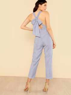 1774c02502b Bow Tie Back Striped Sweetheart Jumpsuit -SheIn(Sheinside)