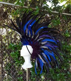 Feather Mohawk in Black Blue Purple and grey by FirebirdLeather