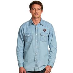 Texas A&M Aggies Antigua Chambray Long Sleeve Button-Up Shirt - Light Blue