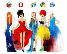 If browsers were women - #internet #explorer #web #chrome #opera #firefox #funny #beauty #women
