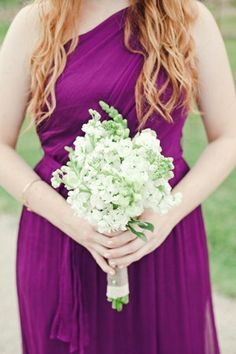 Bridesmaid's Bouquet Of: White Stock + White Snapdragons