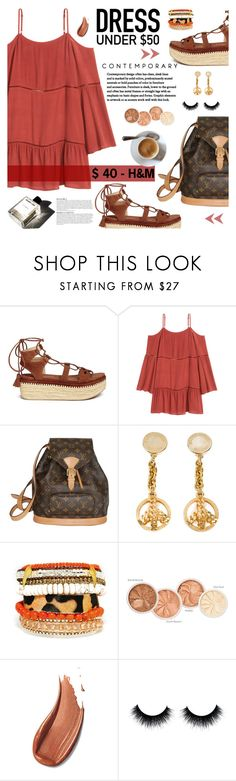 """""""Dress Under $50"""" by giogiota ❤ liked on Polyvore featuring Anja, Stuart Weitzman, Louis Vuitton, Moschino, Garance Doré, polyvoreeditorial, polyvorecontest and Dressunder50"""