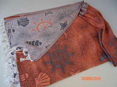 Sea and ship jacquard patterned extra soft Turkish cotton lightweight  bath towel, beach towel, lightweight travel towel.