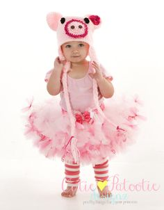 COMPLETE COSTUME:  Petti Tutu Skirt - Halloween or Birthday Pig Costume - Pink - Squiggly Piggly - 2 Toddler Girl - CPDz on Etsy, $100.00